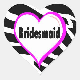 Bridesmaid (Zebra Stripes) Round Sticker