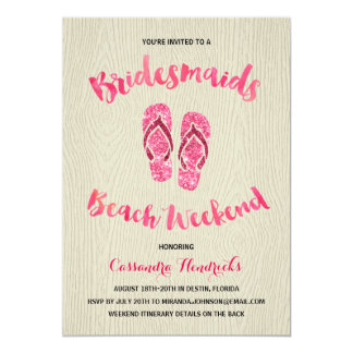 Bridesmaids Beach Weekend with Pink Faux Glitter Card