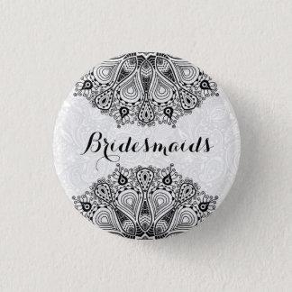 BridesMaids Black Circle Lace White Background Button
