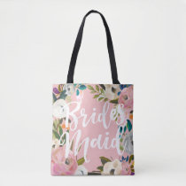 Bridesmaids Brushed Floral Wedding Party Pink Tote Bag
