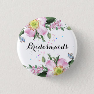 BridesMaids Colorful Flowers White Background Button