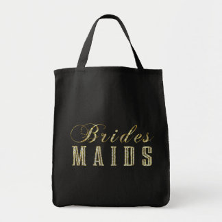 BridesMaids FauxGold & Glitter Text Design Tote Bag