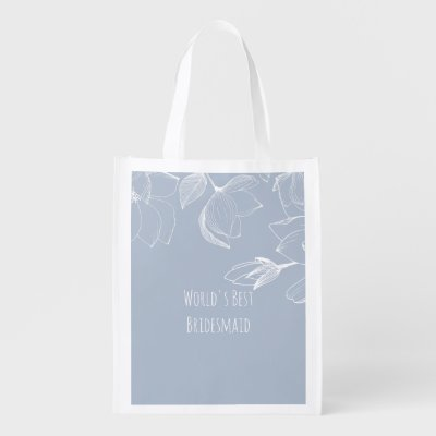 BRIDESMAIDS GIFTS Dusty Blue White Magnolias Grocery Bag