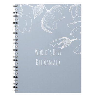 BRIDESMAIDS GIFTS Dusty Blue White Magnolias Notebook