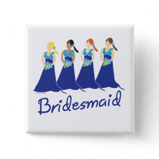 Bridesmaids in Blue Wedding Attendant Button button