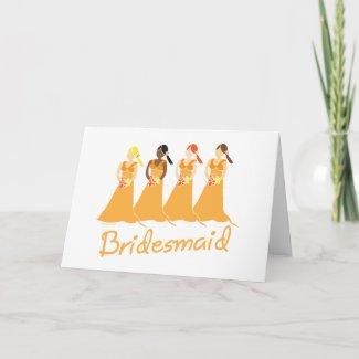 Bridesmaids in Peach Wedding Attendant Cards card