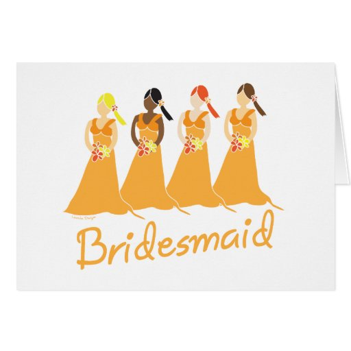 Bridesmaids in Peach Wedding Attendant Cards