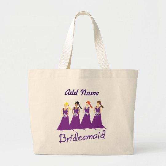 Bridesmaids in Purple Large Tote Bag