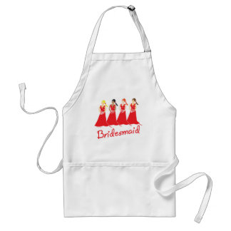 Bridesmaids in Red Wedding Attendant Aprons