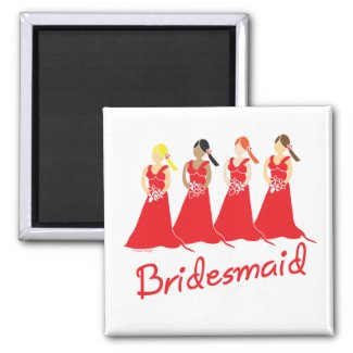 Bridesmaids in Red Wedding Attendant Magnet