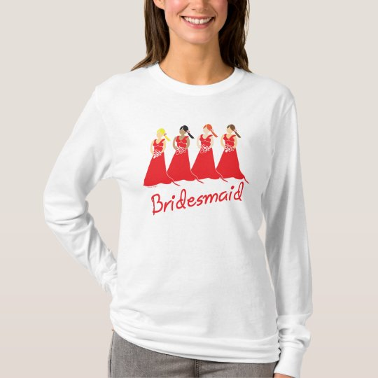 Bridesmaids in Red Wedding Attendant T-Shirt