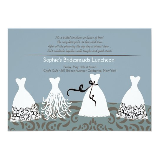 Bridesmaid S Lunch Blue Background Invitation
