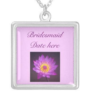 Bridesmaids Necklace - Purple Lotus Flower