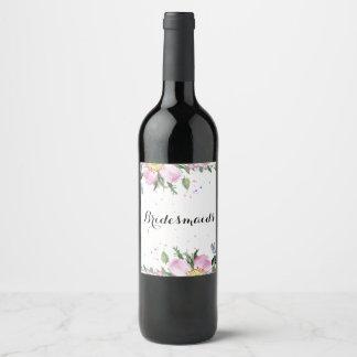 Bridesmaids Pink Dog-rose Bouquet Wine Label