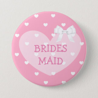 Bridesmaids Pink Hearts White Bow Button
