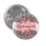 BridesMaids Pink White And Black Paisley Lace 1 Inch Round Button