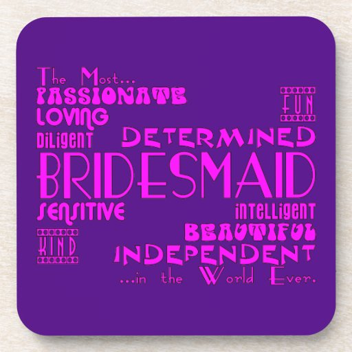 Bridesmaids Thank You Wedding Favors : Qualities Beverage Coaster