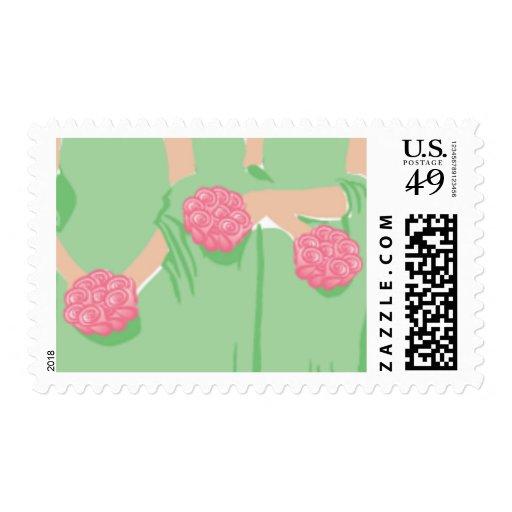 Bridesmaids Wedding Postage Stamp