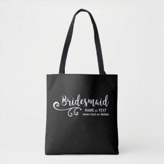 Bridesmaids Wedding Tote Bag   Fun Swirl Script