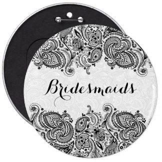 BridesMaids White & Black Paisley Lace Pinback Button