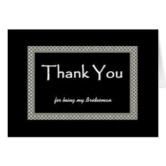 BRIDESMAN Checkerboard Wedding THANK YOU Greeting Card