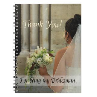 Bridesman thank you notebook