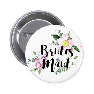 Bridesnaid Floral Watercolor Wedding Button