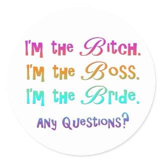 Bridezilla Bride Favors sticker