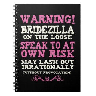 Bridezilla en el flojo libro de apuntes con espiral
