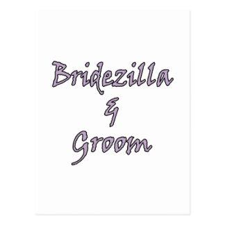 Bridezilla y novio postales