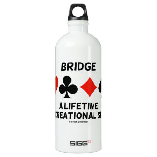 Bridge A Lifetime Recreational Skill (Card Suits) Water Bottle