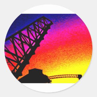 Bridge against Rainbow Sunset Classic Round Sticker