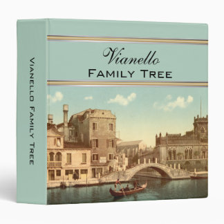 Bridge and Canal, Venice, Italy Family Tree 3 Ring Binder