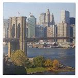 Bridge and Cityscape Large Square Tile