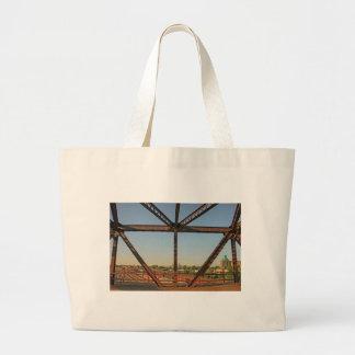 Bridge and Minneapolis Skyline Large Tote Bag