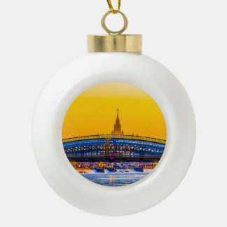 Bridge and Moscow State University Ceramic Ball Christmas Ornament