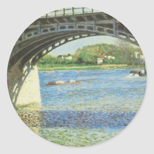 Bridge at Argenteuil by Caillebotte, Vintage Art Classic Round Sticker