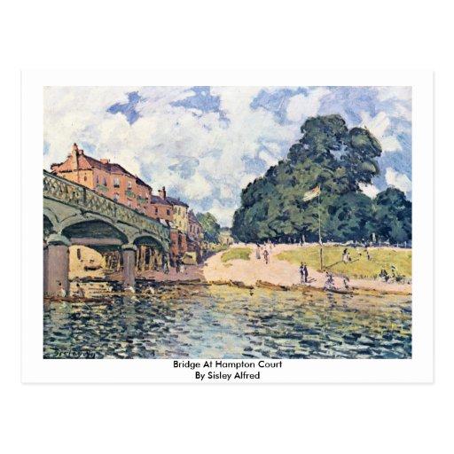 Bridge At Hampton Court By Sisley Alfred Postcard
