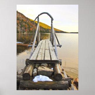 Bridge at Pond Poster