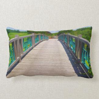 Bridge at Powell Gardens Kansas City Throw Pillows