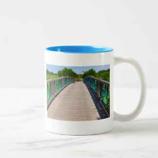 Bridge at Powell Gardens Kansas City Two-Tone Coffee Mug