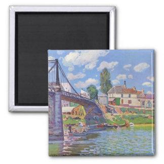 Bridge at Villeneuve-la-Garenne - Alfred Sisley Magnet