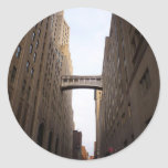 Bridge Between Two Skyscrapers, New York City Round Sticker