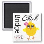 Bridge Chick 2 Inch Square Magnet