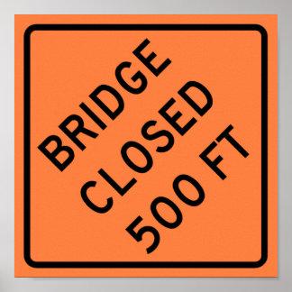 Bridge Closed Highway Sign Poster