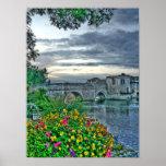 Bridge Flowers Vertical Print