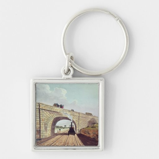 Bridge,from 'Liverpool and Manchester Railway' Silver-Colored Square Keychain