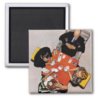 Bridge Game by Norman Rockwell 2 Inch Square Magnet