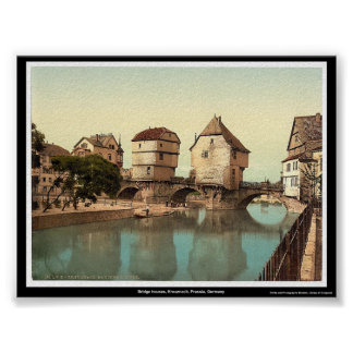 Bridge houses Kreuznach Prussia Germany Poster