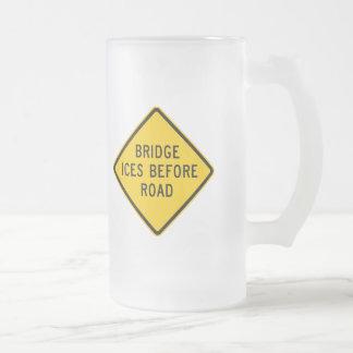 Bridge Ice Warning Highway Sign Coffee Mug